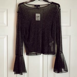 NWT: Forever21+ Mesh/Sparkle Bell-Sleeved Top